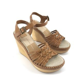 Dolce Vita Brown Wedge Strappy Sandals Size 9